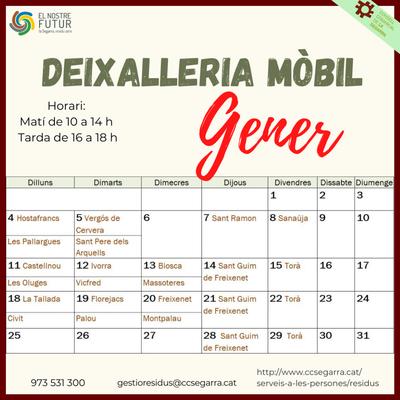 Calendari deixalleria mòbil gener