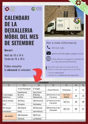 Calendari deixalleria mòbil setembre