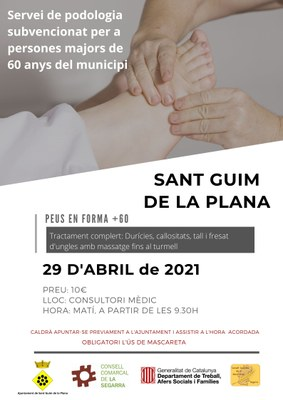 Servei de podologia per a majors de 60 anys al municipi de Sant Guim de la Plana