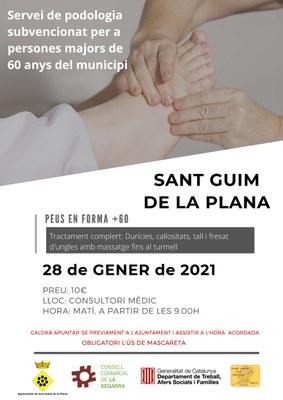 Servei de podologia per a persones del municipi majors de 60 anys