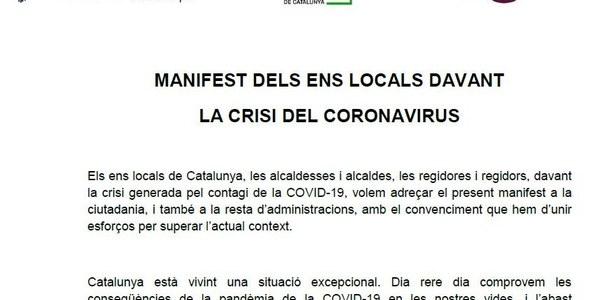 MANIFEST DELS ENS LOCALS DAVANT LA CRISI DEL CORONAVIRUS